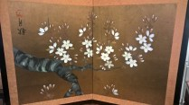 """**ITEM NOW SOLD** Mini two-panel painted Japanese screen, c. 1980. Purchased in Japan. 24""""w x 16.75""""h. 95.-"""