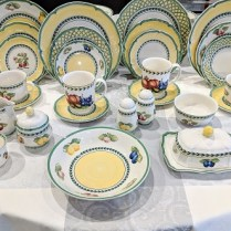 **ITEM NOW SOLD** Villeroy & Boch 'French Garden',' Fluerence', 'Orange' 'Valence' and 'Vienne'. 8 full place settings plus MANY additional pieces=104 pcs. Current List: $3,188. Modele's Price: 1150.- set