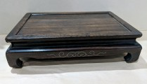 """**ITEM NOW SOLD** Wood pedestal with silver inlay detail. 11.5"""" x 8"""" x 3""""h. 45.-"""