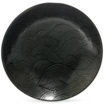 Aranami 'Wave' serving bowl, black and silver. 28.-
