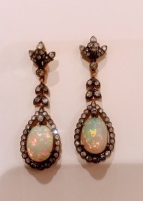Antique Earrings 14K yellow gold and silver. 2.5 carat total weight diamonds and Australian Opals.c.1870's 1500.-