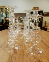 **ITEM NOW SOLD**Blown Glass Candle Stick Holders. Various. $40-45.