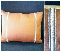 Pair custom made pillows. Each side shows different fabric for nice variety. 95.- pair