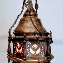 **ITEM NOW SOLD**Pierced Brass Lantern Swag. Electrified. Purchased from Singer Antiques. 325.-