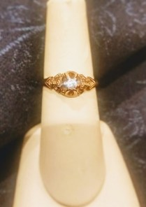 **ITEM NOW SOLD**Ring 14K yellow gold ornate solitare with 10pt. Diamond. c.1880-1890 250.-