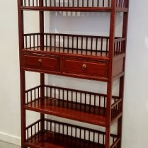 **ITEM NOW SOLD** Red lacquered Chinese etagere. Purchased from Ming's Asian Gallery. 595.-