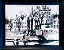 """**ITEM NOW SOLD**Framed Painting 'Metz France, 1959'. Signed. Charcoal/Ink/ Watercolor. 28.25"""" w x 22.75""""h275.-"""
