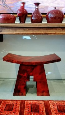 **ITEM NOW SOLD**Vintage Karl Springer Parchment Accent Stool. Lacquered Goatskin over wood. Original Price:$1500.-Modele's Price: 750.-