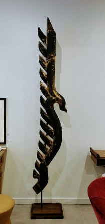 "** ITEM NOW SOLD.**Architectural Element from a temple in Thailand. Mounted on custom stand.9' .5"" tall.1750.-"