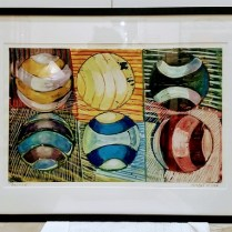 """**ITEM NOW SOLD**Gary Nisbet 'Bounce'. Oil and gold leaf on paper. 1994. 30.25"""" x 22.25"""" (inc. frame) 395.-"""