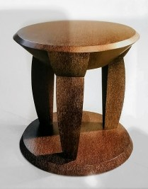 "**ITEM NOW SOLD** Gulassa & Co. side table. Contoured Profile Table. Designed by Terry Hunziker and David Gulassa. Brown cerused lacewood finish. 24""dia. x 24""h. Original List: $9800.- (2012) Modele's Price: 1750.-"