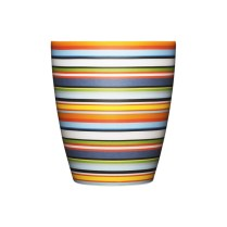 "'Origo' tumbler, 8.5 oz. Shown in orange, also available in ""brown"" (blues and brown). 25.-each"