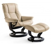 ** ITEM NOW SOLD.**Pair Ekornes Stressless 'Mayfair' Recliners with Footstools. Swing arm tables included. Current List: $2,894.- Each.Modele's Price: 2650.- Pair