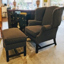 **ITEM NOW SOLD** Edward Ferrell Wing Back Chair and Ottoman. 595.-