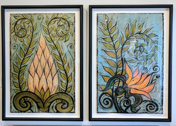 """Juan Alonso framed paintings. Acrylic on paper, not signed, framed in plexiglass. Both 32""""w x 46""""h. Left painting title: 'Possibly Maybe' 1996. 495. Right painting title: 'You've Been Flirting Again' 1996. 495.-"""