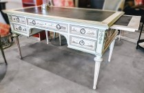 Custom painted vintage desk. Charming chinoiserie style. Pull-out leaves at each end. Leather writing surfaces. Original price paid. $8000.- Modele's price:1650.-