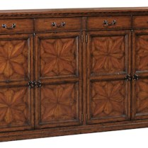 ** ITEM NOW SOLD.**Emerson Bentley 'Palermo' Credenza. Carved hardwoods and exotic veneers-intricate inlay-iron hardware. Adjustable shelves.1195.-