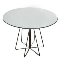 **ITEM NOW SOLD**Knoll 'Paperclip' Table. Chrome base with bright white laminate top. Current List: $1776.- Modele's Price: 850.-