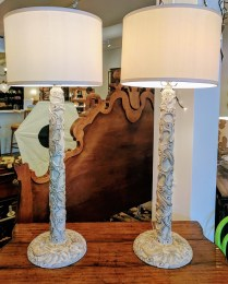 Pair buffet lamps from Great Jones Homes. 5 years old. Decorative resin composite base. Three way socket switch max 100 watts. 495.-/pair