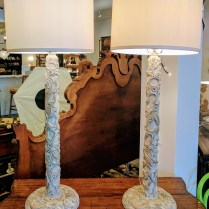 **ITEM NOW SOLD** Pair buffet lamps from Great Jones Homes. 5 years old. Decorative resin composite base. Three way socket switch max 100 watts. 350.-/pair