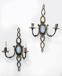 Pair Ormlu wall sconces. Jasperware plaques. Possibly Wedgewood. Electrical in one sconce partially removed. 350.-