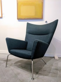 Hans J. Wegner CH445 lounge 'Wing' chair. Produced by Carl Hansen & Sons, Denmark. Designed in 1960. 100% wool felt cover. Current List $6205.- Modele's Price: 2450.-