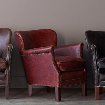 **ITEM NOW SOLD**Restoration Hardware 'Professor Chair'.Burgundy Leather Chair with nailhead trim. Original member price: $1175.- Modele's Price: 550.-