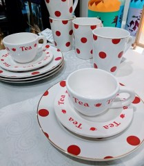 **ITEM NOW SOLD**12 piece dessert set.4 Rosana mugs. 4 Rosana dessert plates. 2 teacups/saucers-unrelated.30.-
