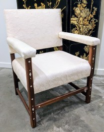 Vintage Swiss armchair with inlay. Purchased from One Kings Lane. Original List: $1920.- Modele's Price: 695.-