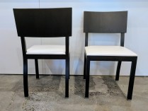 **ITEM NOW SOLD** Set/4 Ligne Roset dining chairs. Discontinued style. Leather seats. Dark Wenge stain on oak. 1250.- set/4
