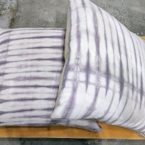 "**ITEM NOW SOLD*Pair lavender dye on white pillows. Rebecca Atwood NY. Down fill. 24"" x 24"". Original List: $229.-each Modele's Price: 225.-/pair."