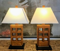 Pair Table Lamps. Purchased at Gump's 5-10 years ago. Three way switch. Stained finish. 350.- /pair