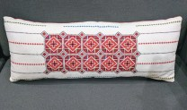 "**ITEM NOW SOLD**Embroidered Lumbar Pillow. Down filled. 27.5"" w x 11""h. 125.-"