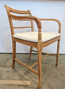 ** ITEM NOW SOLD.**Wisteria natural finish chair with seat pad from India. Original List: over $200.- Modele's price: 125.-