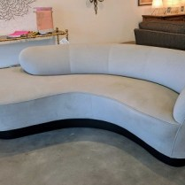 **ITEM NOW SOLD**Directional kidney sofa. Purchased in 2010 from the Ralph Hayes showroom at the Seattle Design center. Fabric sensuede, flannel suede. Color granite #1435. original List: $5795.- Modele's Price: 1850.-