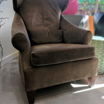 **ITEM NOW SOLD** Custom leather chair. 10-15 years old. Custom made by Walenta's Upholstery. 695.-