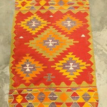 "**ITEM NOW SOLD** Kilim rug. Age/origin unknown. 38.5"" x 55.5"". 150.-"