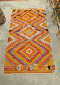 "**ITEM NOW SOLD** Kilim rug. Age/origin unknown. 37"" x 69"". 175.-"