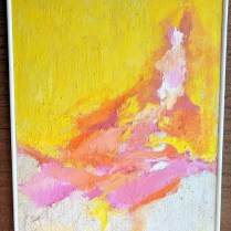 """**ITEM NOW SOLD** Original painting, mixed medium. Purchased in Miami c. 1970's. Artist unknown (from family estate). 35.5""""w x 41.5""""h 595.-"""