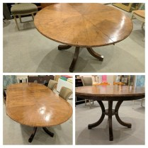 **ITEM NOW SOLD** New Classics 'C-Leg' dining table., seats 8-10. Purchased through the Seattle Design center. Two extension leaves inserted convert to trestle base. Exact model discontinued but near identical model at Jennifer West Showroom lists at $16,000.- Modele's Price: 4195.-