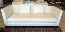 **ITEM NOW SOLD** Vanguard sofa, designed by Michael Weiss. Purchased in 2008. Fabric: Trinity Bisque. Just cleaned at Emmanuel's. Includes 2 matching back pillows. 1100.-