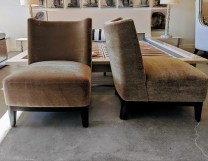 **ITEM NOW SOLD**Pair / Christian Liaigre 'Mandarin' slipper chairs. Discontinued Style. Wool mohair upholstery. Dark stained mahogany base. 3250.-/pair