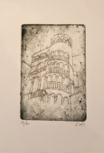 "Etching of Venice by Venetian artist. Alessandra D'Agnolo. 12"" x 6.5"" 31.50"