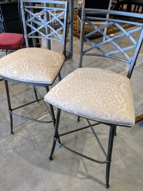 "Pair Ethan Allen 'Becker' bar stools. One year old. Upgraded fabric, swivel seat, 30"" seat height. Orig. List: $1,893. Pr. Modele's Price: 295.- Pr."