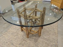 "**ITEM NOW SOLD** McGuire-like dining table base with round glass top. Purchased in 1984. 54.5"" rd. x 29.5""h. 395.-"
