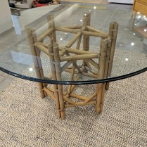 """**ITEM NOW SOLD** McGuire-like dining table base with round glass top. Purchased in 1984. 54.5"""" rd. x 29.5""""h. 395.-"""