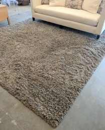 """**ITEM NOW SOLD** Savnik custom shag rug. Handmade in Oakland, Calif. in 2010. Pewter, ash, putty colors. 9'5"""" x 9'7"""". Current List: $3691. Modele's price: 1500.-"""
