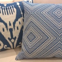 """**ITEM NOW SOLD** Pair custom made reversible pillows with down/feather fill and invisible zipper closure. Made by Village Interiors in Seattle, 20.5"""" x 23"""". Orig. List: $400. each. Modele's Price: 295.- pr."""