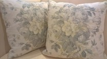 "**ITEM NOW SOLD** Pair custom pillows with George Smith fabric. Down/feather fill and invisible zipper closure. Made by Village Interiors in Seattle. 20"" sq. 250.- pr."