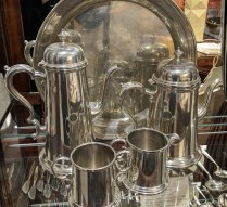 "**ITEM NOW SOLD** Boardman 'Colonial' 5-Pc. pewter set: 14"" round tray, coffee pot, tea pot, cream and sugar, 51 year old. Current List: $1,500. Modele's Price: 325.-"
